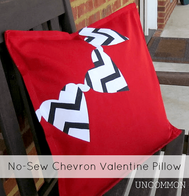 No Sew Chevron Valentine Pillow