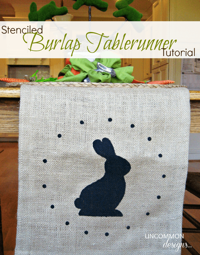 Stenciled Burlap Tablerunner Tutorial