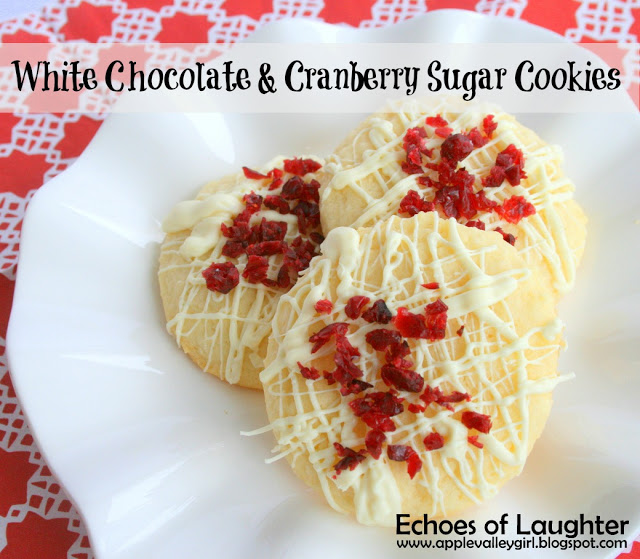 white chocolate and cranberry sugar cookies
