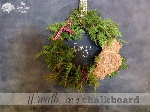 wreath on a chalkboard