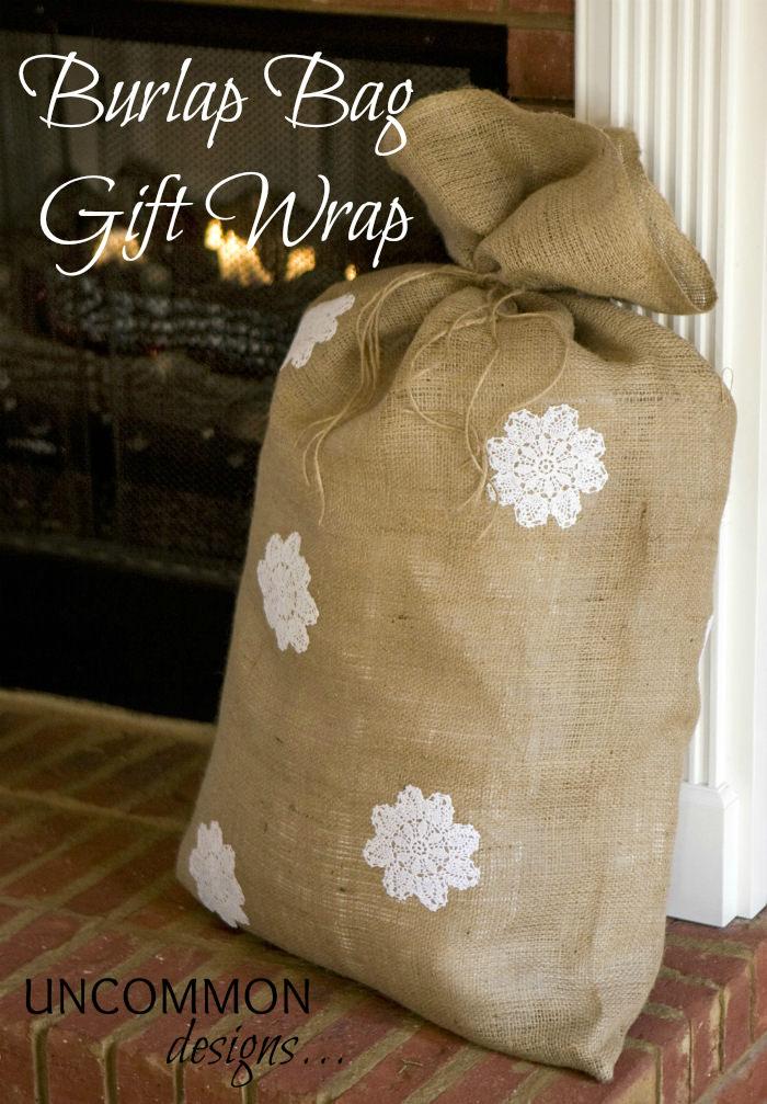 burlap bag gift wrap