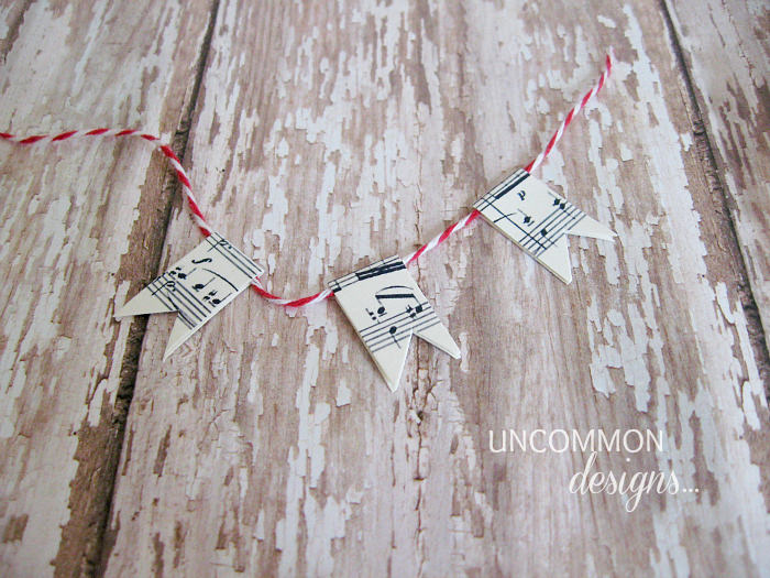 mini sheet music bunting
