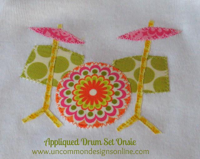 Appliqued Drum Set Onesie