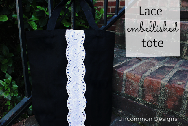 A perfect gift idea or Mother's Day idea. A lace embellished tote bag via Uncommon Designs.