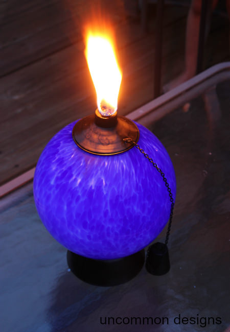 tiki glowing torch at night