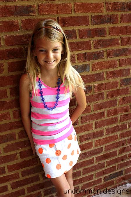 neon polka dot skirt