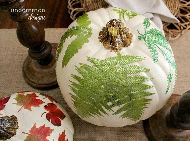 botanical_fern_mod_podge_pumpkin