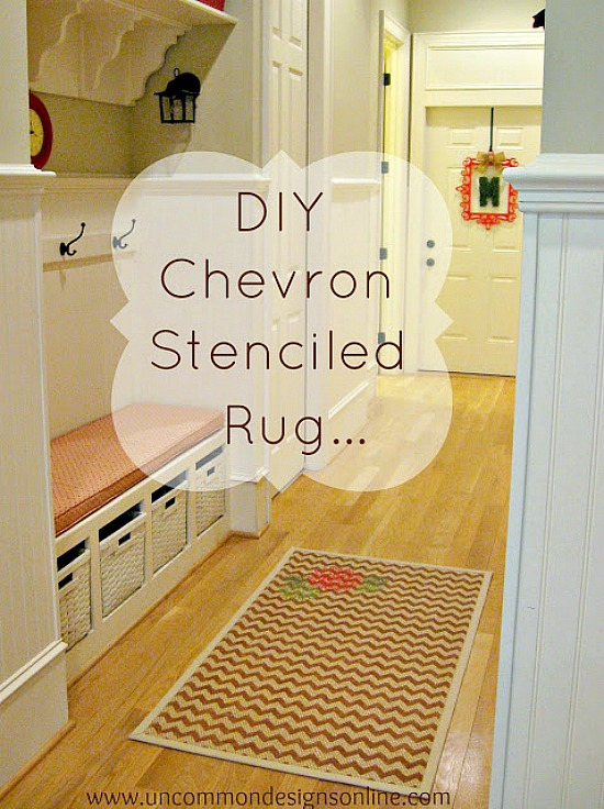 Create a fun DIY Chevron Stenciled Rug for your home! A perfect custom home decor accent.