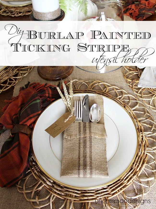 DIY Burlap Painted Ticking Stripe Utensil Holders via Uncommon Designs
