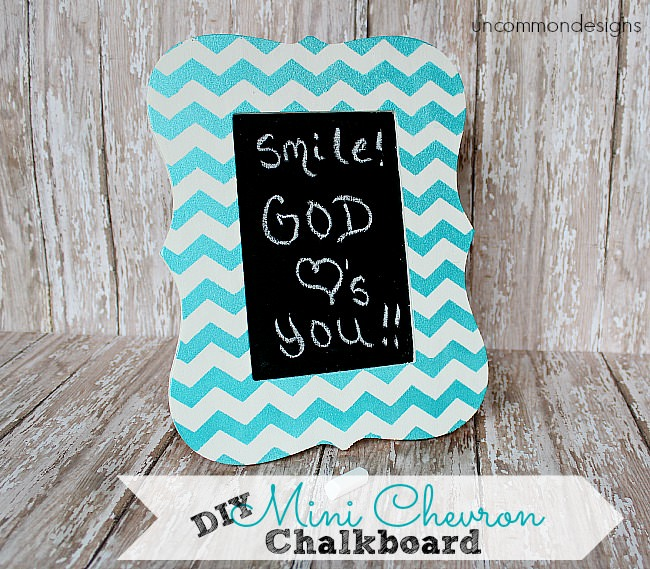 Create and adorable DIY Mini Chevron Chalkboard and Frame. A sweet accent for a teen or tween or just you!