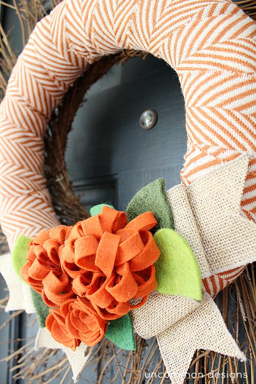 Fall wreath with fabric, burlap, and felt via Uncommon Designs