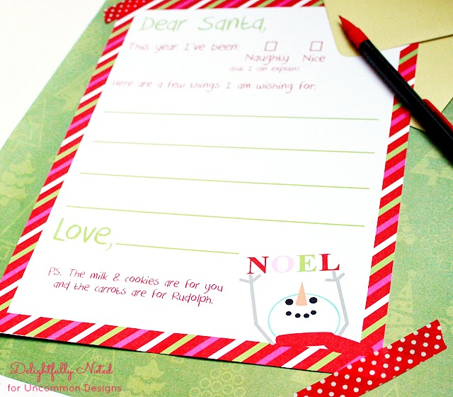 Letter to Santa Holiday Free Printable