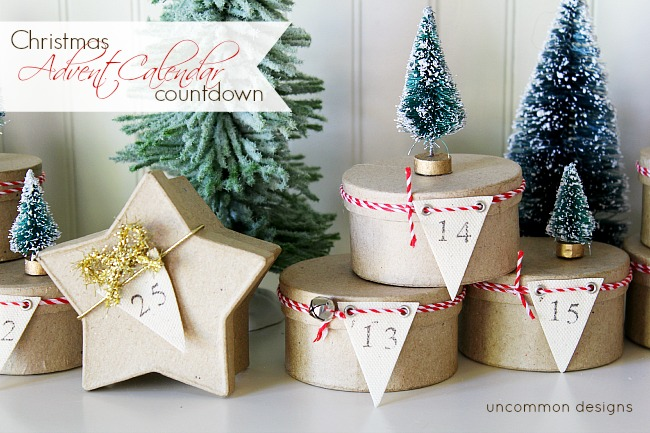 Christmas Advent calendar countdown using mini boxes and mini trees! A perfect way to celebrate the holiday season!