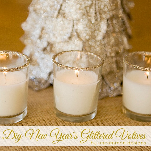 DIY New Year's Glittered Votives. A beautiful and super easy addition to your holiday decor! #glitter #votive #newyears