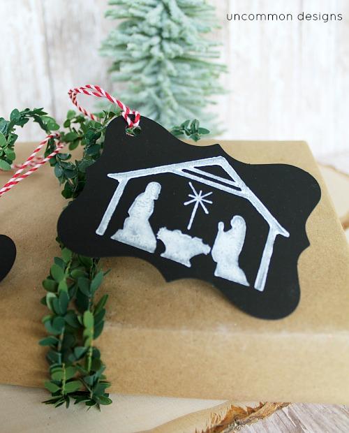 DIY Faux Chalk Nativity Christmas Gift Tag