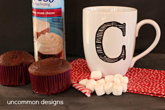 Hot Chocolate Cupcakes using Betty Crocker's Hot Chocolate box mix by www.uncommondesignsonliine.com