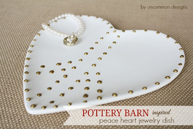 Pottery Barn Inspired Peace Heart Jewelry Dish. A step by step tutorial. #potterybarn #decoart #organization #jewelry