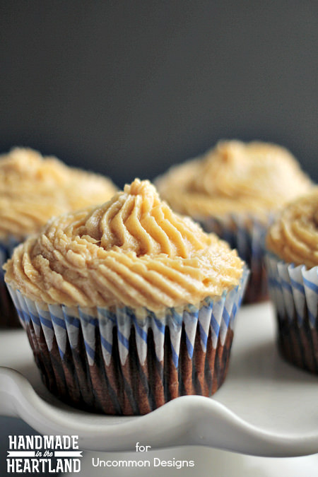Chocolate Banana Cupcakes with Peanut Butter Icing  www.uncommondesignsonline.com