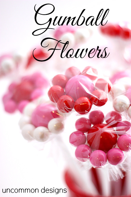 Gumball Flowers An Adorable #Valentines Treat!  www.uncommondesignsonline.com  #valentinestreat #kidscrafts