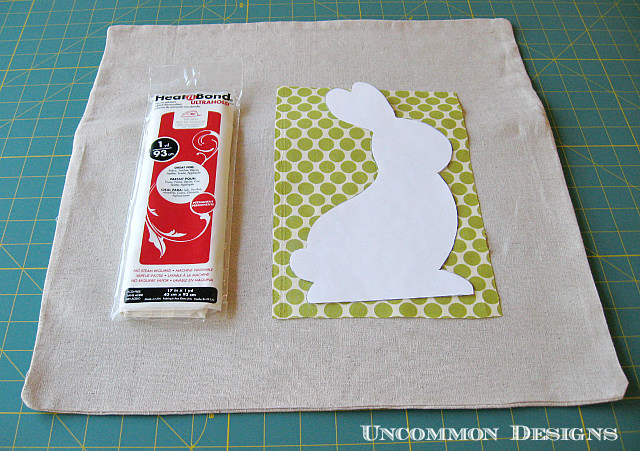 No Sew Easter Bunny Pillow.  Learn how to applique this easy bunny in no time!  www.uncommondesignsonline.com  #Easter #Pillows