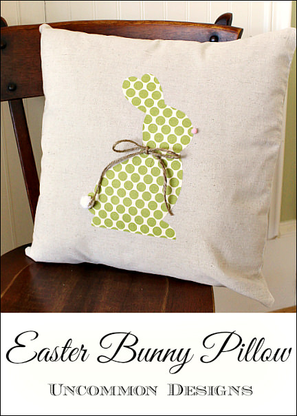 Easter Bunny Pillow. Learn how to applique this easy bunny in no time! www.uncommondesignsonline.com #Easter #Pillows