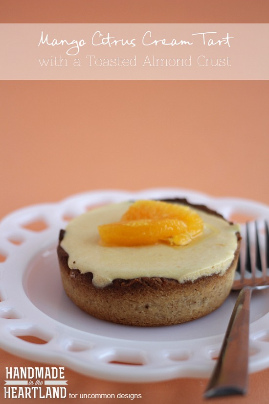 Incredibly Delish! Mango Citrus Cream Tart with Almond Crust! Perfect for a special dessert.