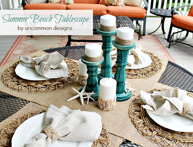 Bring a bit of the beach to your home and create a simple and elegant Summer Beach Inspired Tablescape. via www.uncommondesignsonline.com