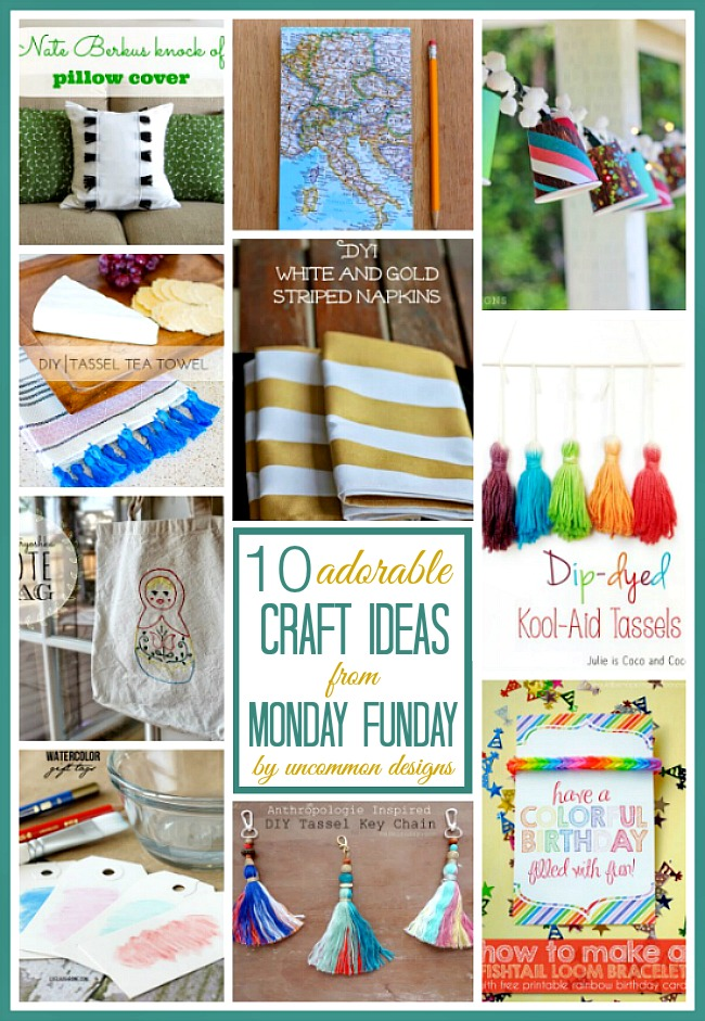 The 10 Adorable craft ideas from the weekly #mondayfundayparty are sure to be added to your must make list! #linkpartyfeatures #diycrafts