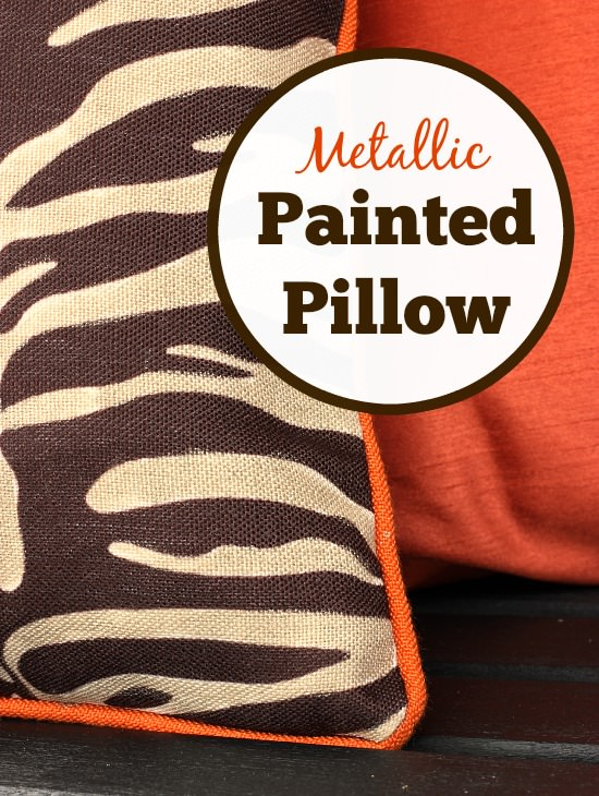 metallic painted pillow