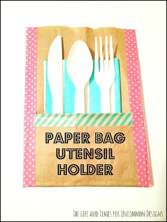 Make these simple and adorable paper bag utensil holders for your next party!  They are not only so adorable, but won't break the bank!  Uncommon Designs
