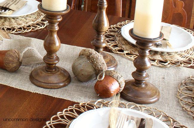 Burlap fall or Thanksgiving table runner via Uncommon Designs