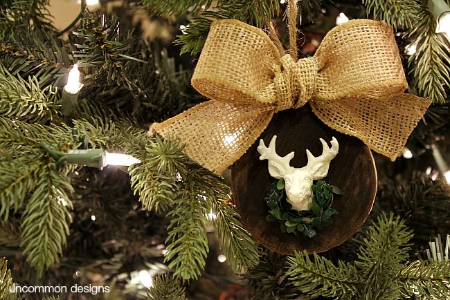 A beautiful Deer Head Christmas Ornament via Uncommon Designs. A rustic and natural Christmas ornament.