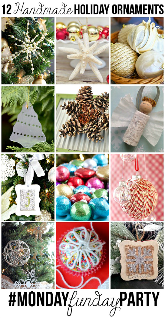12 Handmade Holiday Christmas Ornaments from the Monday Funday Party via Uncommon Designs