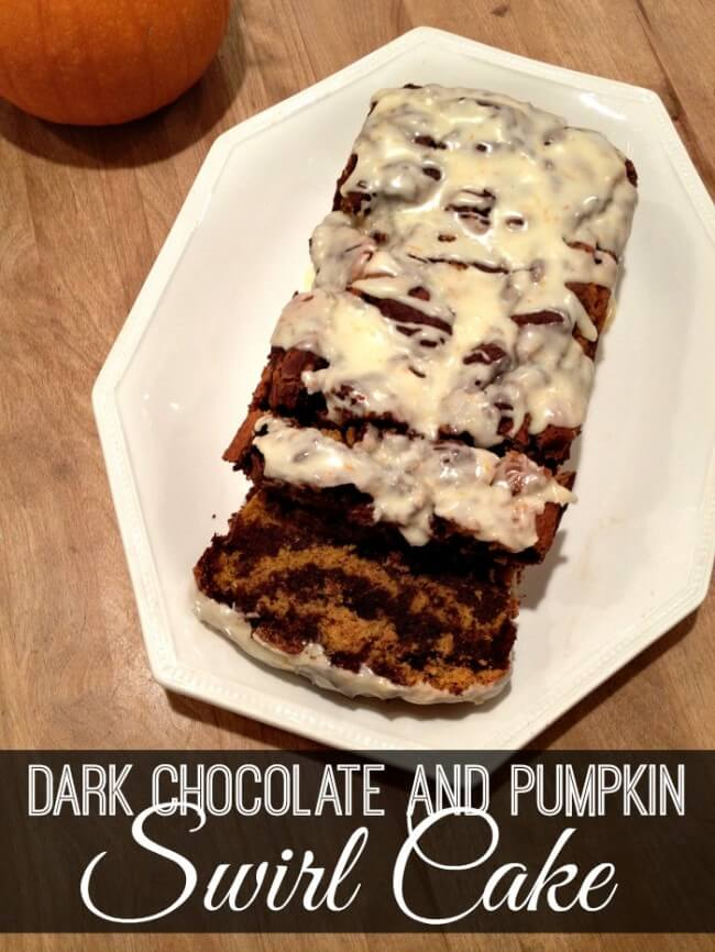This gluten-free recipe found on Uncommon Designs combines the two crowd favorites of dark chocolate and pumpkin for a delicious swirl cake recipe!