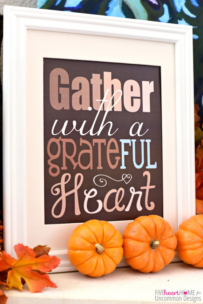 Give Thanks with a Grateful Heart Thanksgiving Free Printable via Uncommon Designs