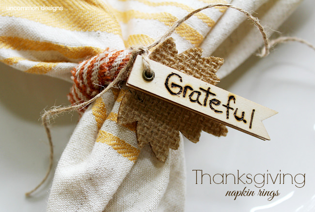 DIY Homemade Thanksgiving Napkin Rings  via Uncommon Designs
