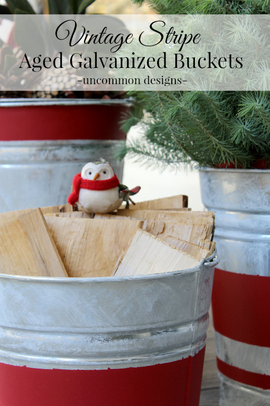 Create beautiful Vintage Stripe Aged Galvanized Buckets via Uncommon Designs for a rustic holiday decor style. #thehomedepot #3MPartner
