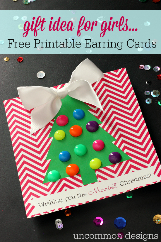 The perfect Christmas gift idea for tween girls... a printable earring card! by Uncommon Designs