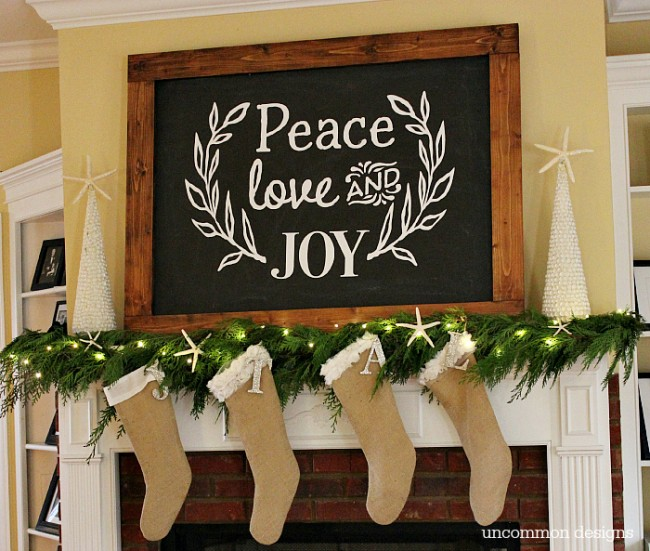 Make a Faux Chalkboard for Christmas.  No art skills required!  by Uncommon Designs