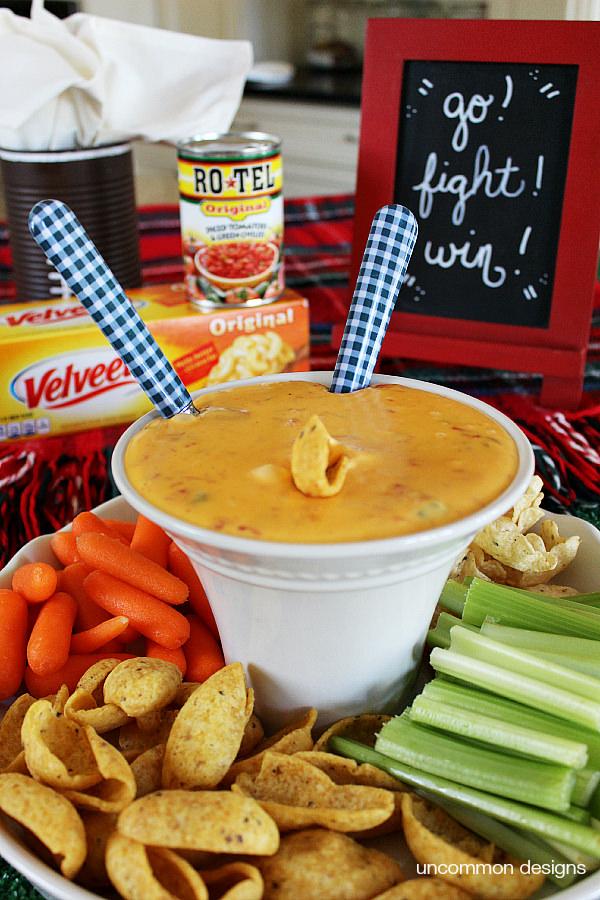 2 ingredient queso dip via Uncommon Designs.