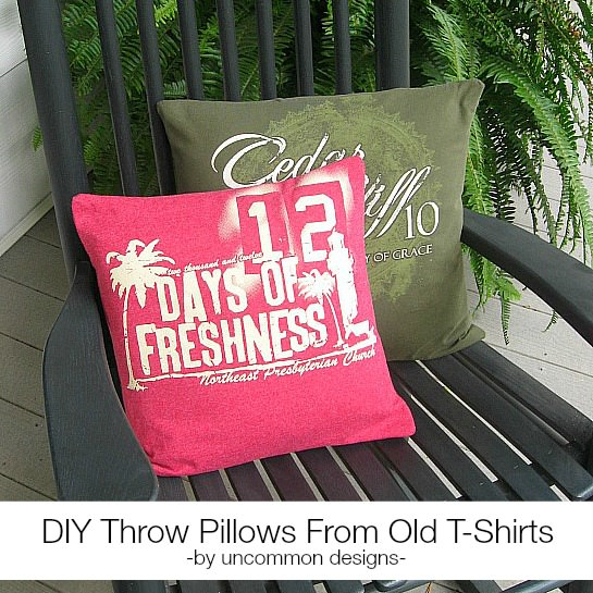 DIY Throw Pillows from Old T-shirts via Uncommon Designs