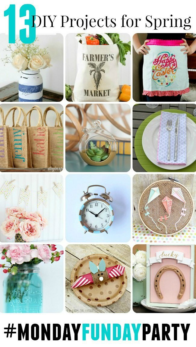 13 fabulous Diy Projects for spring from Monday Funday via Uncommon Designs.