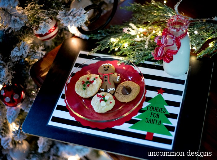 This year use this sweet Cookies for Santa Free Printable Placemat.  So cute and your kids will love this tradition! | Uncommon Designs