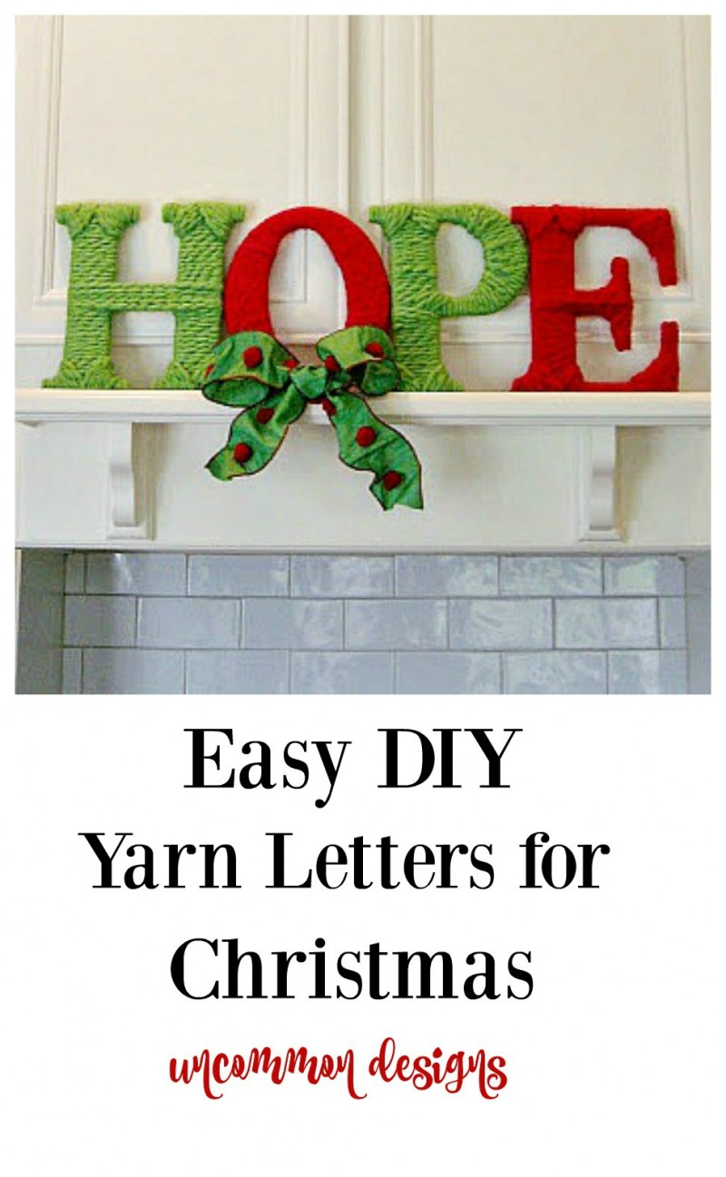 Easy DIY Yarn Letters for Christmas