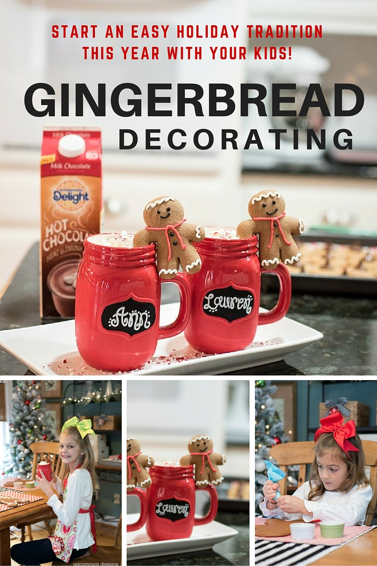 Start an easy holiday tradition with your family this year!  Decorate Gingerbread Men, Sip on Hot Chocolate and Have fun!   Uncommon Designs