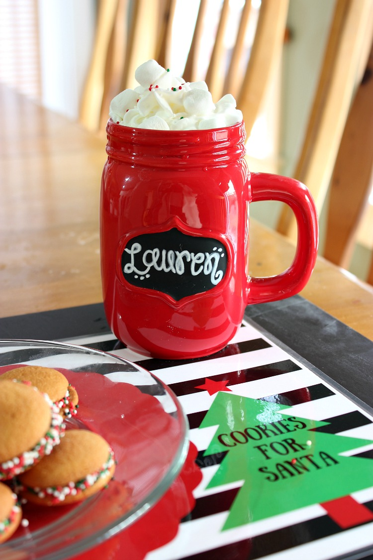 Get the kids in on the fun of creating a easy holiday cookies for Santa. Paired with delicious hot chocolate and this adorable downloadable placemat you are ready for Santa in an instant! See more on https://uncommondesignsonline.com/ #ChristmasCookies #Christmas #NewforSanta #ad